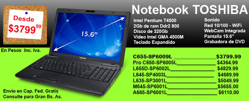 Notebooks Toshiba desde 3799.99 persos - Sistemas Informáticos Integrados Tel:(011)5917-8572 E-mail:info@siis.com.ar